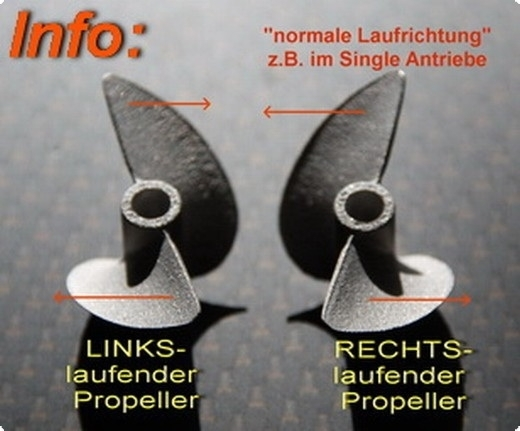 Alu Propeller Hydro 42 mm mit Dog Drive -RTR- LINKSLAUFEND